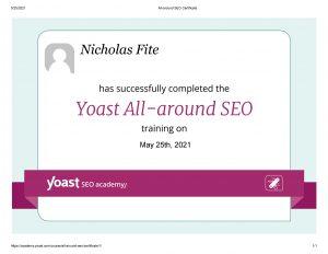 All Around SEO Certificate from Yoast Academy